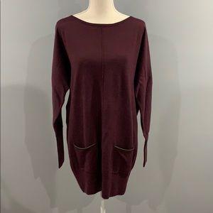 Club Monaco - Tunic Sweater Leather Trim Pockets